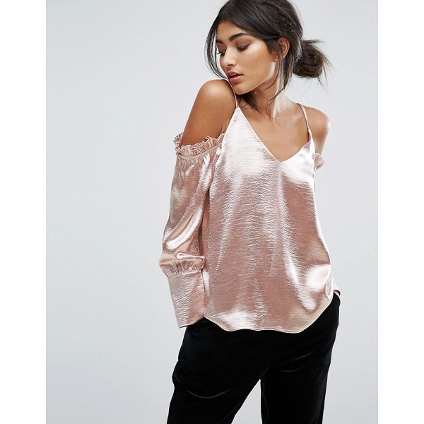 J.O.A. Cold Shoulder Cami Top With Ruffle Shoulder Details - Top by J.O.A, Smooth woven fabric, Metallic finish, V-neck,...