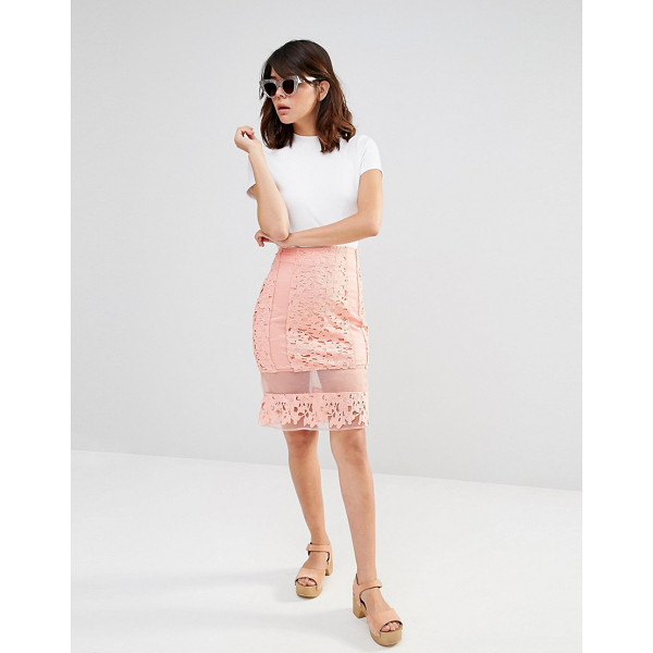 """J.O.A. Lace Sheer Panel Skirt - """"""""Skirt by J.O.A, Crochet lace, Sheer organza inserts,..."""