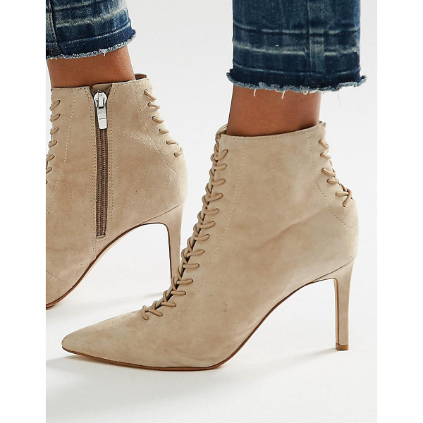 KENDALL + KYLIE Beige Suede Point Stiletto Lace Up Boot - Boots by Kendall Kylie, Textile upper, Lace-up fastening,...