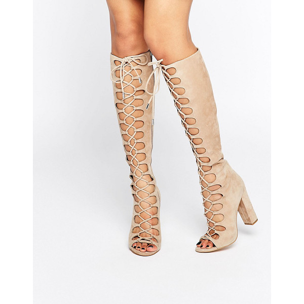 KENDALL + KYLIE Beige Tie Up Knee Sandals - Boots by Kendall Kylie, Suede upper, Lace-up fastening,...
