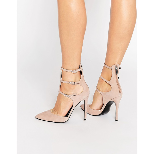 KENDALL + KYLIE Kendall & Kylie Alisha Nude Suede Caged Pointed Pumps - Heels by Kendall Kylie, Suede upper, Zipped heel, Pin...