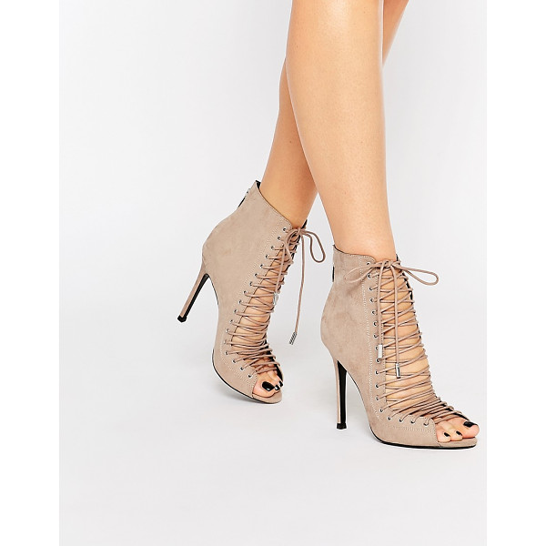 KENDALL + KYLIE Kendall & Kylie Ginny Nude Suede Ghillie Lace Up Peep Toe Shoe Boot - - Boots by Kendall Kylie, Suede upper, Zipped heel, Lace-up...