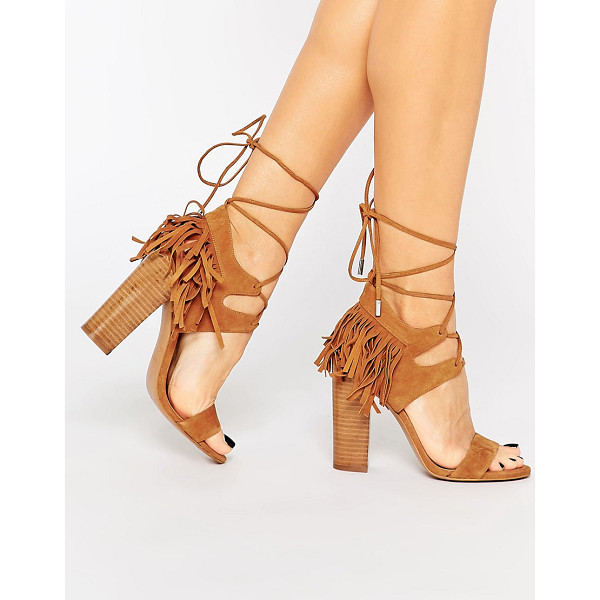 KENDALL + KYLIE Kendall & Kylie Saree Tan Suede Ghillie Heeled Sandals - Heels by Kendall Kylie, Suede upper, Lace-up closure,...