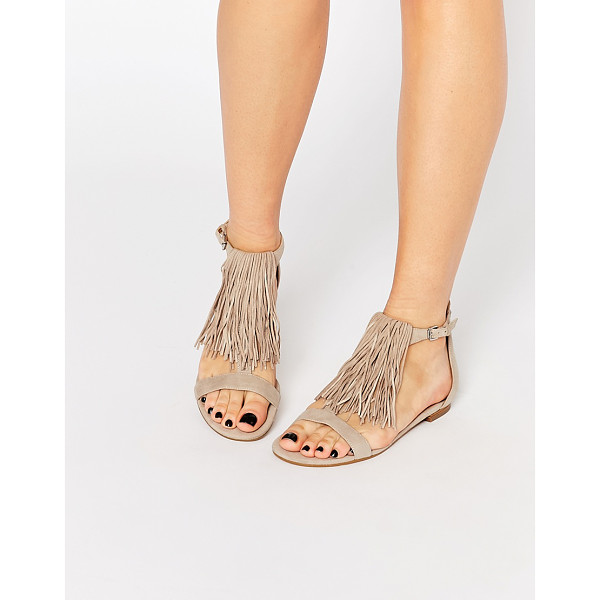 KENDALL & KYLIE Kendall & Kylie Tessa Suede Nude Fringe Flat Sandals - Sandals by Kendall Kylie, Suede upper, Open toe design, Pin