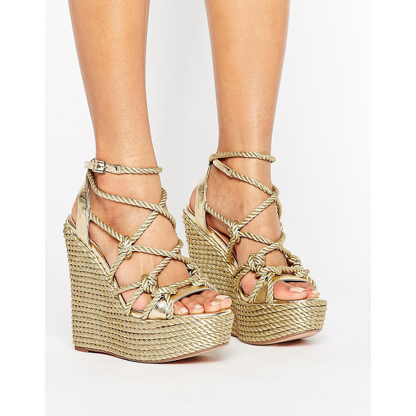 KG KURT GEIGER KG by Kurt Geiger Notty Stacked Wedge Sandals - Sandals by KG by Kurt Geiger, Leather upper, Metallic...