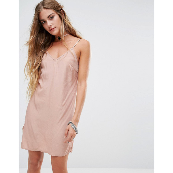 KISS THE SKY Cami Slip Dress With Rose Choker Detail - Dress by Kiss The Sky, Satin-style fabric, V-neckline, Cami...