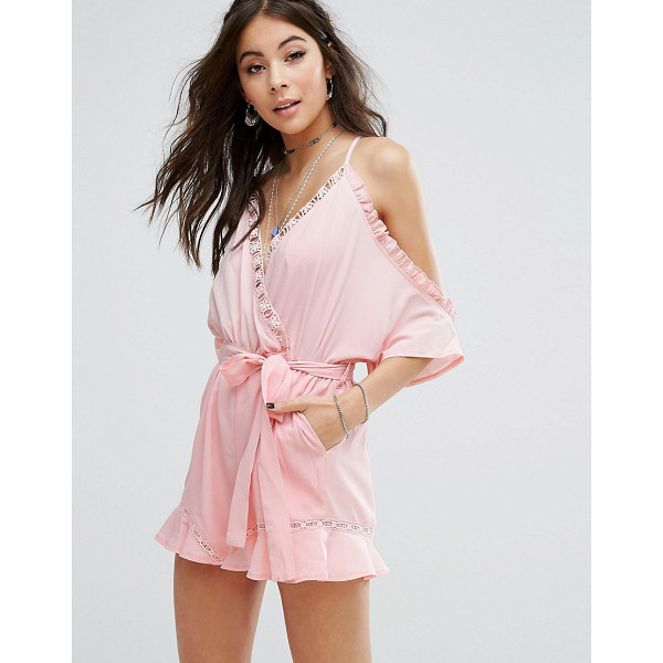 KISS THE SKY Cold Shoulder Romper With Ruffle Hem - Romper by Kiss The Sky, Woven fabric, Ruffle detailing,...
