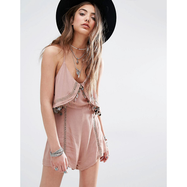 KISS THE SKY Festival Cami Romper With Coin Trim - Romper by Kiss The Sky, Lightweight woven fabric, Scoop...