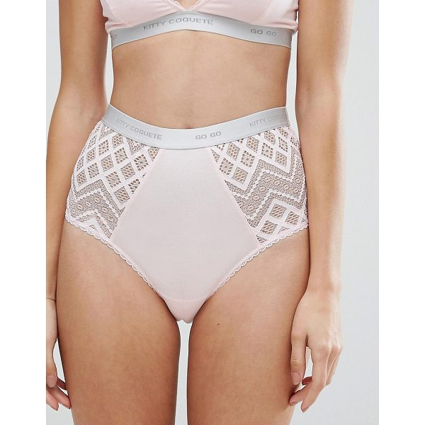 KITTY COQUETE By Mimi Holliday Go Go High Waist Brief - Briefs by Kitty Coquet, Semi-sheer lace, Branded waist,...