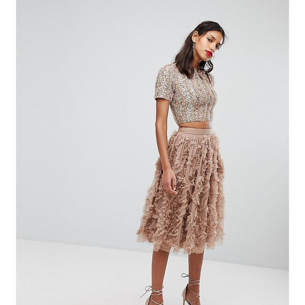 LACE & BEADS Lace & Beads Tulle Midi Skirt With 3D Shirring Detail - Midi skirt by Lace Beads, Textured tulle, Fully lined, High...