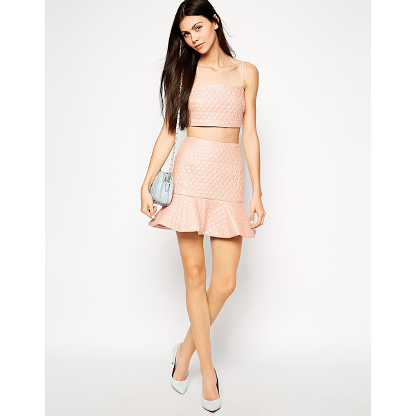 LASHES OF LONDON Heart quilted peplum hem skirt - Skirt by Lashes of London Leather look fabric Stitched...