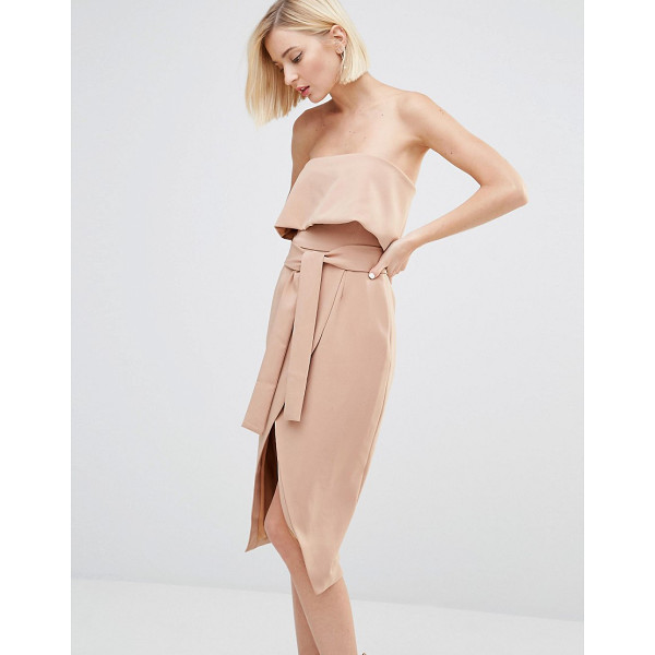 LAVISH ALICE Bandeau Cropped Tie Front Midi Dress - Midi dress by Lavish Alice, Woven fabric, Bandeau neckline,