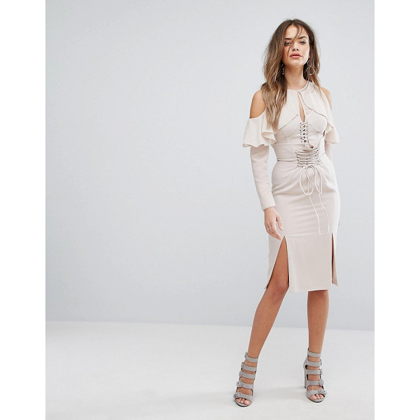 LAVISH ALICE Nude Lace Up Midi Skirt - Midi skirt by Lavish Alice, Smooth stretch fabric, High...