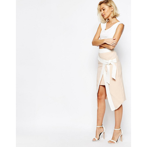 LAVISH ALICE Wrap Asymmetric Skirt with Obi Belt - Skirt by Lavish Alice, Lightweight crepe, Contrast panels,