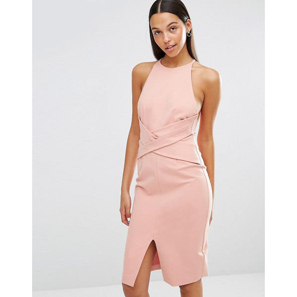 LAVISH ALICE Wrap Front Plunge Back Detail Midi Dress - Midi dress by Lavish Alice, Smooth stretch fabric, Crew