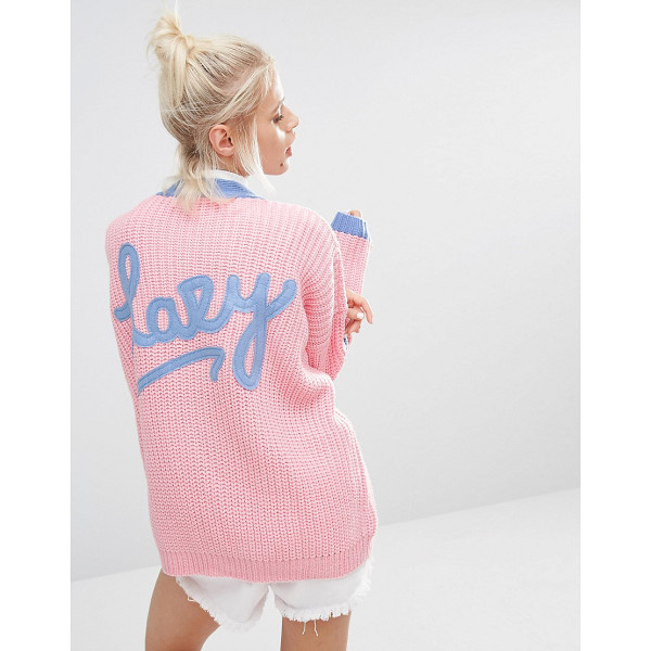 LAZY OAF College cardigan in knitted rib with logo back - Cardigan by Lazy Oaf, Midweight chunky knit, V- neckline,...