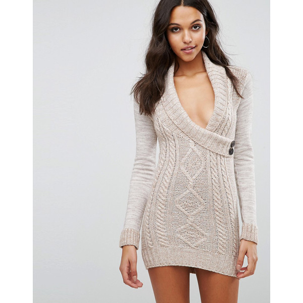 LIPSY Aran Knitted Dress With Wrap Front - Knit dress by Lipsy, Textured knit, Wrap front, Deep-plunge...