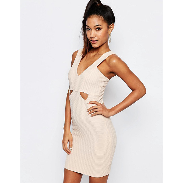 "LIPSY Ariana Grande for  Ribbed Bodycon Cut Out Dress - """"Dress by Lipsy, Stretch ribbed fabric, Bandage design,"