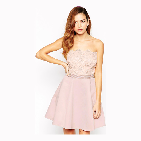 LIPSY Bandeau Prom Dress With Lace Embellished Top - Evening dress by Lipsy, Mid-weight crisp fabric, Silky...