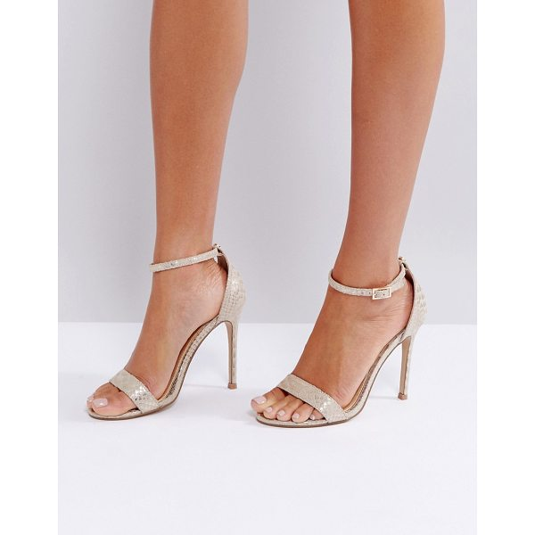 LIPSY Barely There Heels In Gold Snake Print - Heels by Lipsy, Metallic upper, Ankle-strap fastening, Open...