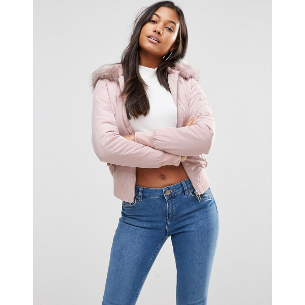 LIPSY Bomber Jacket in Pink with Faux Fur Hood - Jacket by Lipsy, Soft-touch woven fabric, Padded quilted...