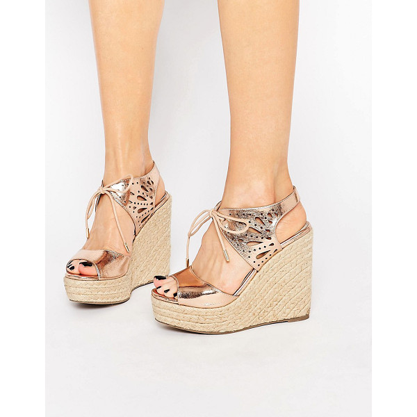 "LIPSY Brooke Rose Gold Metallic Tie Up Wedge Sandals - """"Sandals by Lipsy, Metallic faux-leather upper, Rose..."