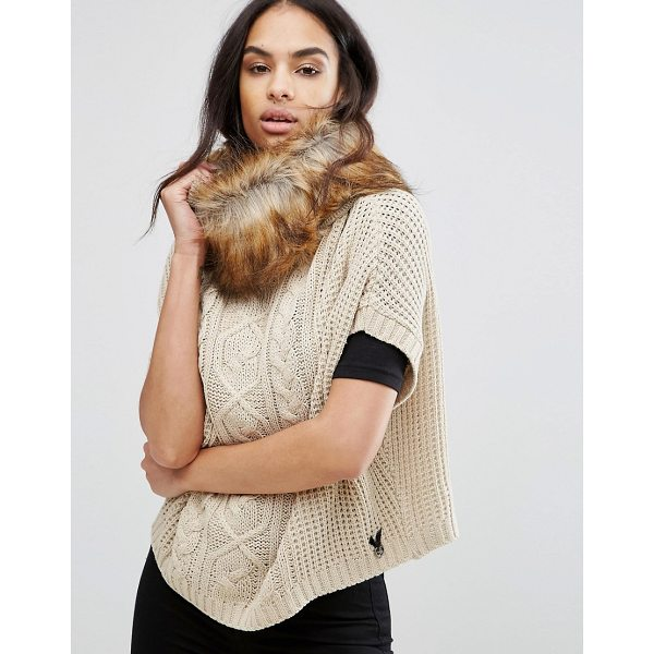 """LIPSY Cable Knit Poncho With Faux Fur Trim - """"""""Poncho by Lipsy, Chunky cable knit, Faux-fur trim,..."""
