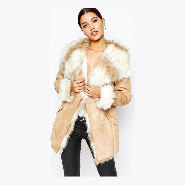 LIPSY Coat with faux fur trim and lining - Coat by Lipsy Soft-touch suedette Faux fur trim and lining...