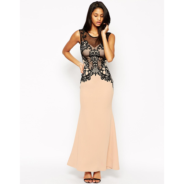 LIPSY Embellished lace built up maxi dress - Maxi dress by Lipsy Smooth scuba fabric Mesh overlay with...