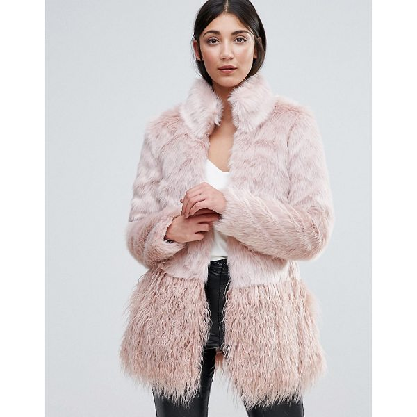 """LIPSY Faux Fur Paneled Coat - """"""""Coat by Lipsy, Soft-touch faux-fur, Lined design, Stand..."""