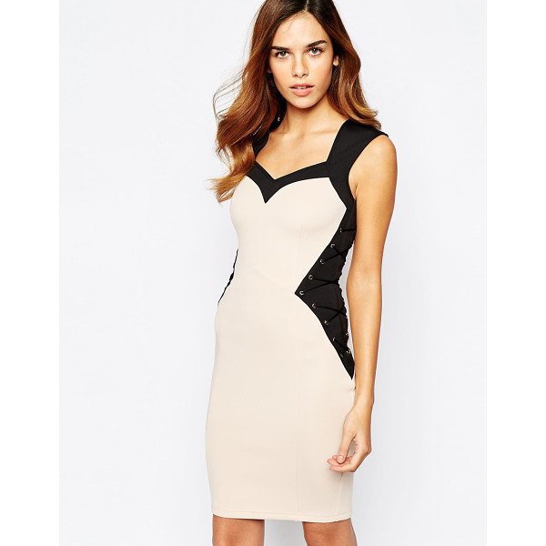LIPSY Illusion waist body-conscious dress with lace up detail - Body-Conscious dress by Lipsy Smooth stretch knit Metal...