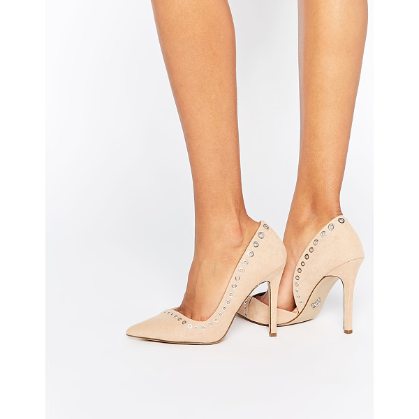 LIPSY Lacey Rivet Heeled Pumps - Heels by Lipsy, Suede-look upper, Pointed toe, Rivet trim,