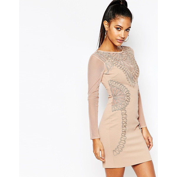 LIPSY Long Sleeve Cornelli Lace Bodycon Dress - Body-Conscious dress by Lipsy, Smooth stretch fabric, Lace...