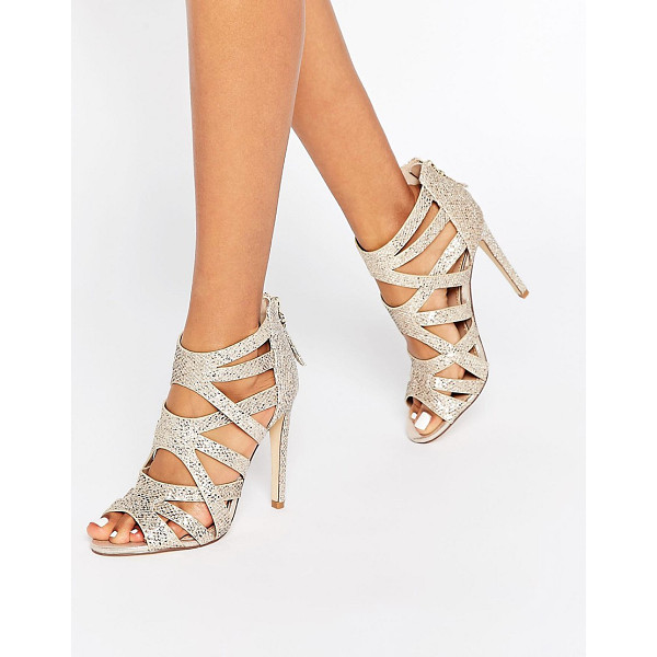 LIPSY Margot Gold Glitter Caged Heeled Sandals - Heels by Lipsy, Glitter textile upper, Caged design, Back