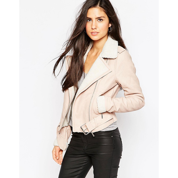 LIPSY Michelle keegan loves  biker jacket with borg trim - Jacket by Lipsy, Smooth leather-look outer, Point collar,...
