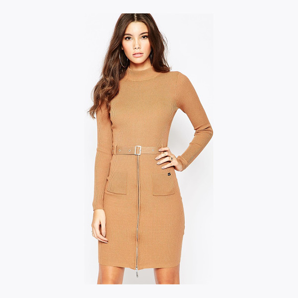 LIPSY Michelle keegan loves  knitted dress with zip and belt detail - Knit dress by Lipsy, Ribbed knit, Turtle neckline, Pin...