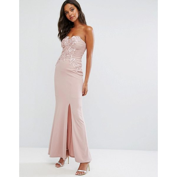 """LIPSY Nude Bandeau Maxi Dress with Waxed Lace Detail - """"""""Maxi dress by Lipsy, Smooth woven fabric, Bandeau design,..."""