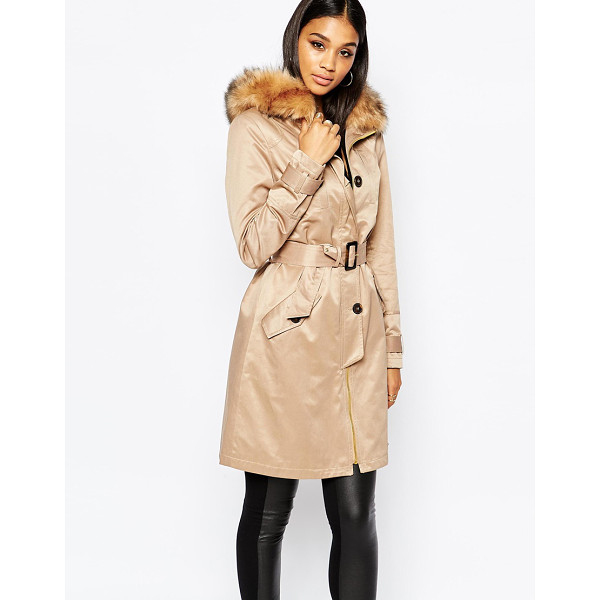 LIPSY Parka trench with faux fur collar - Trench by Lipsy Soft-touch woven fabric Fully lined...