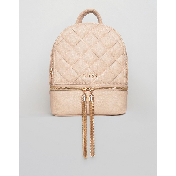 LIPSY Quilted Tassel Mini Backpack - Backpack by Lipsy, Faux-leather outer, Quilted design,...
