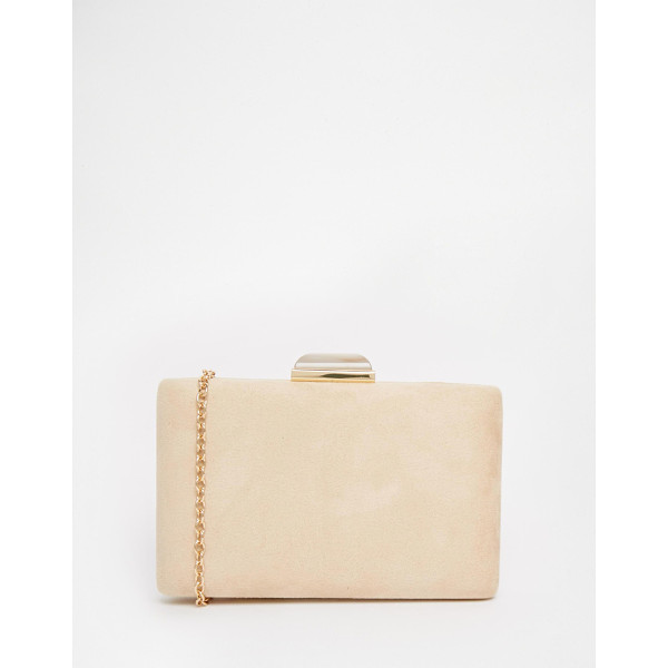 LIQUORISH Box clutch bag with jewel clasp - Cart by Liquorish Suede-style outer Structured box design...