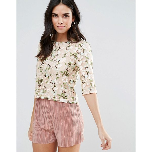 """LIQUORISH Lace Embroidered Crop Top - """"""""Top by Liquorish, Lined mesh, Boat neck, Embroidered..."""