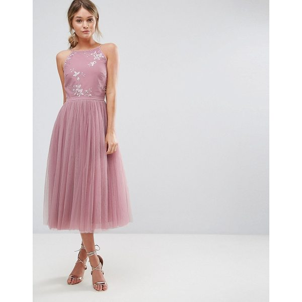 "LITTLE MISTRESS Beaded Midi Dress with Tulle Skirt - """"Midi dress by Little Mistress, Lined woven bodice, High..."