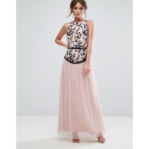 """LITTLE MISTRESS Embroidered Maxi Dress With Tulle Skirt - """"""""Maxi dress by Little Mistress, Lined woven fabric, Floral..."""
