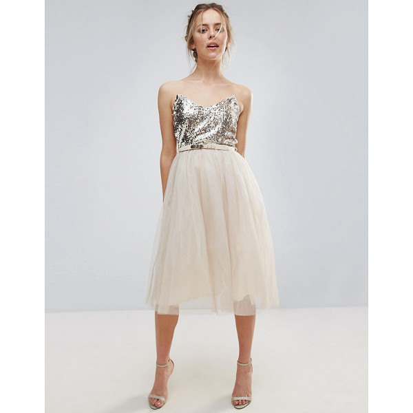 """LITTLE MISTRESS Heavily Embellished Prom Dress - """"""""Dress by Little Mistress, Lined sequinned top, Strapless..."""