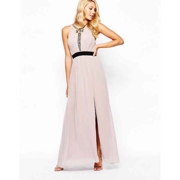 LITTLE MISTRESS High neck embellished maxi dress with contrast waistband - Maxi dress by Little Mistress Lined, woven fabric Round...