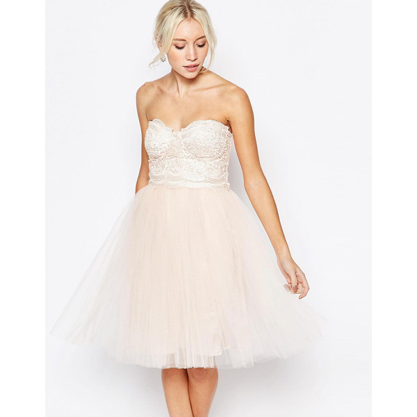 LITTLE MISTRESS Lace bustier dress with tulle skirt - Evening dress by Little Mistress Lace structured bodice...