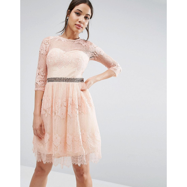 LITTLE MISTRESS Lace Overlay 3/4 Sleeve Dress - Lace dress by Little Mistress, Lined lace, Round neck,