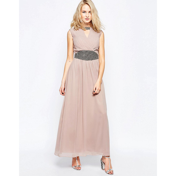 LITTLE MISTRESS Maxi Dress with Wrap Front and Waist Detail - Maxi dress by Little Mistress, Mid-weight chiffon, Satin...