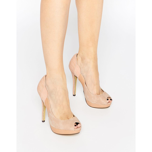 LITTLE MISTRESS Peep toe platform heeled shoes - Shoes by Little Mistress, Faux suede and leather upper,...