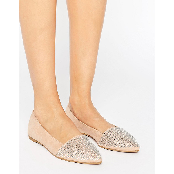 LITTLE MISTRESS Pointed Glitter Detail Flat Shoes - Shoes by Little Mistress, Faux-suede upper, Diamante...